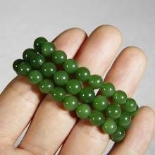 新疆和田玉碧玉圆珠项链菠菜绿女款9mm玉石项链 链子