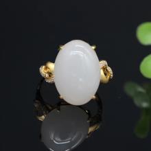 18K金鑲羊脂玉戒指