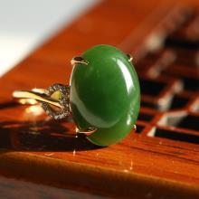 碧玉蛋面-金镶戒指