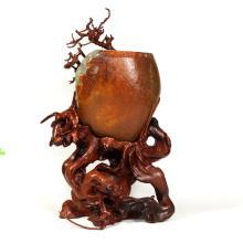 籽料红皮螭龙杯