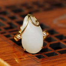 籽料白玉原石-金镶戒指