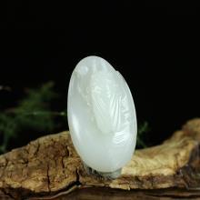 羊脂白玉籽料挂件-大业有成