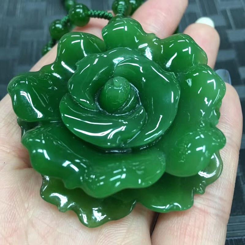 8cm 碧玉花开富贵,新款碧玉牡丹花,精品大镯子心精美雕刻,牡丹花层