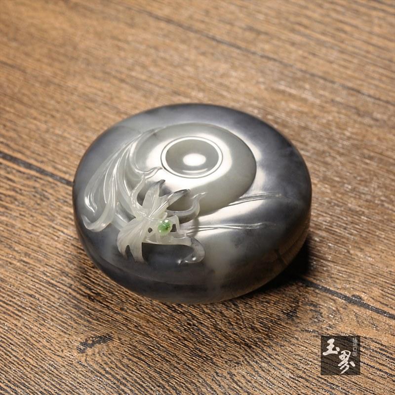 墨玉子料印泥盒-水草蜻蜓