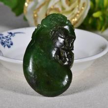 新疆和田玉碧玉如意 老鼠 铜钱 挂件24.5g