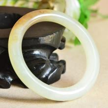 新疆和田玉糖羊脂白玉圆条手镯55.8mm