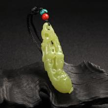 黄玉吊饰件-瓜蒂连绵