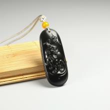 黑青玉子料牌-福壽雙全