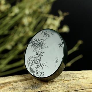 和田玉黑青玉挂件-清竹(特惠)