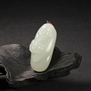 白玉子料挂件-财神