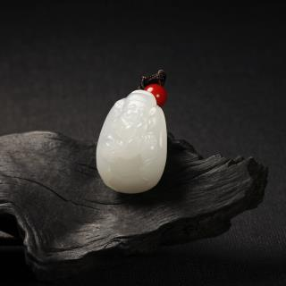 羊脂白玉挂件-小财神