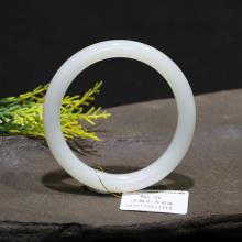 和田玉羊脂白玉圆细手镯54mm