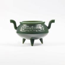 青玉-饕餮紋雙耳香爐