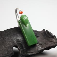 碧玉-素面蛇牌
