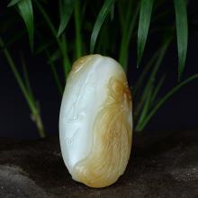 新疆且末糖白玉挂件-荷塘情趣(不议价)