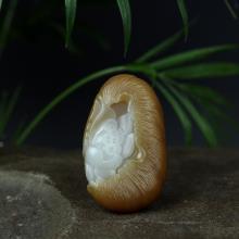 新疆且末糖白玉掛件-荷韻(不議價)