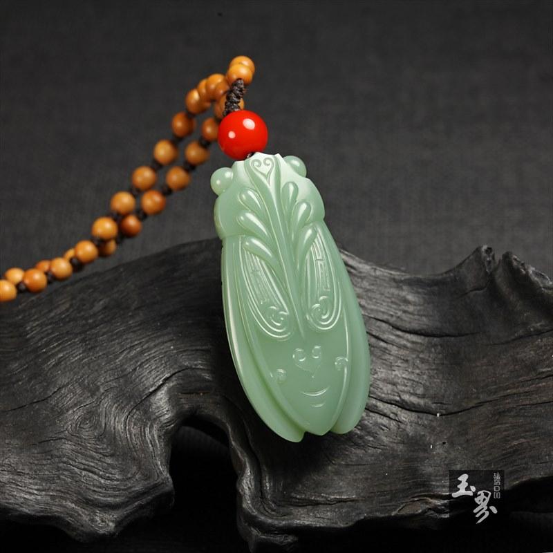 碧玉-纹饰蝉形佩