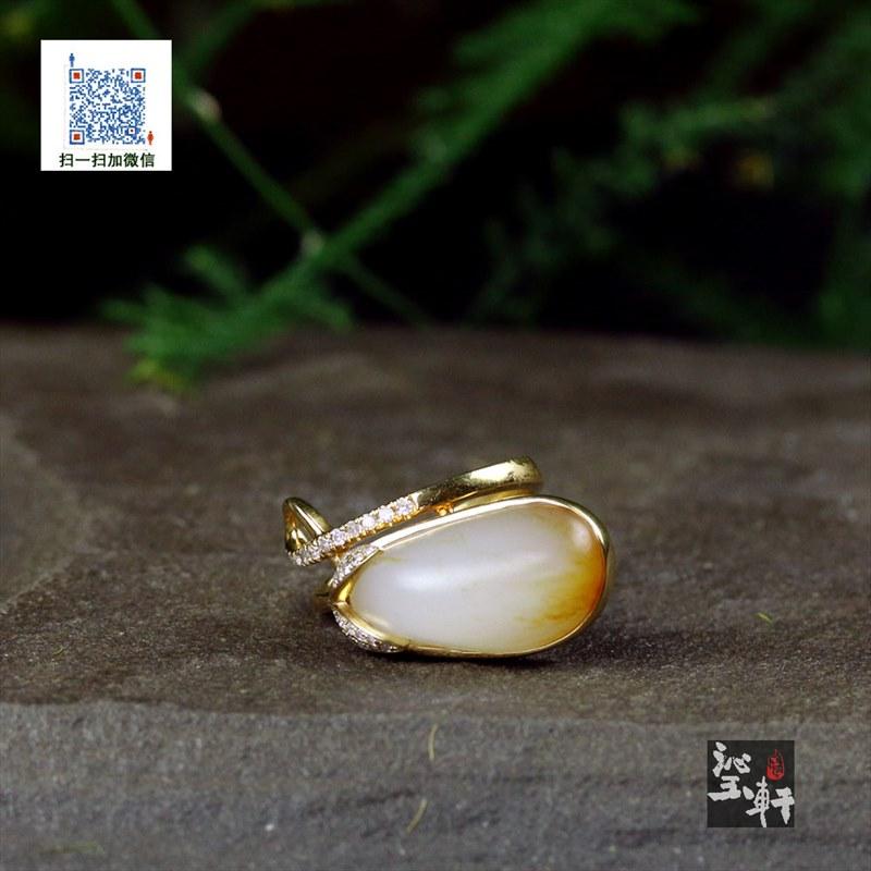 18K金镶羊脂白玉独籽戒指(不议价)