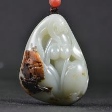 锦玉源 新疆和田玉 籽料 油皮 美人手把件 玉挂件吊坠子