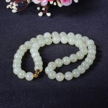 和田玉黄玉圆珠项链74.626g