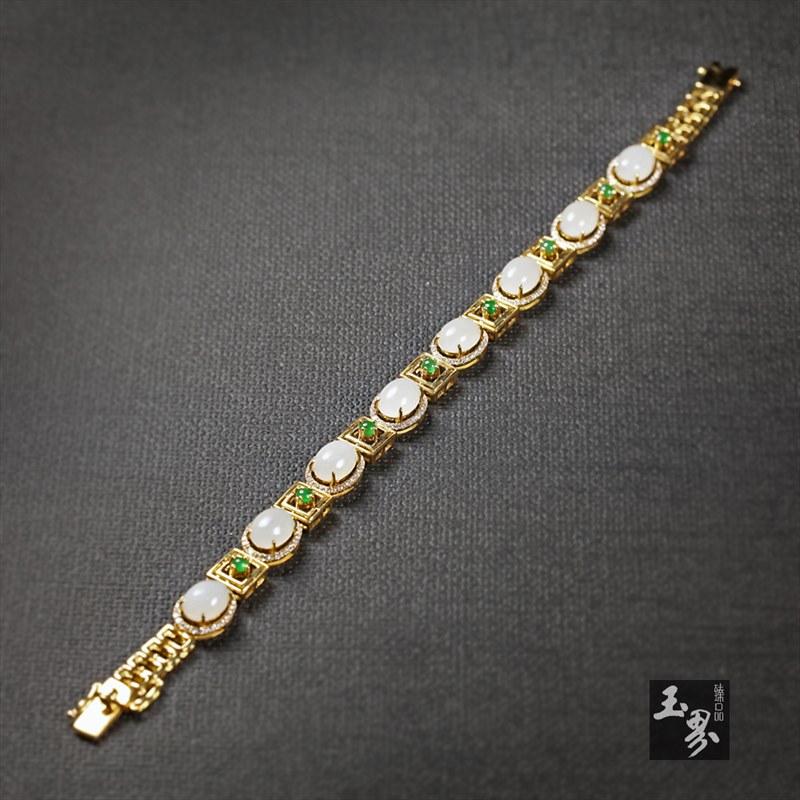 (18k金嵌翠镶钻)羊脂白玉-方圆手链