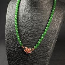 (18k玫瑰金红宝)碧玉-圆珠项链
