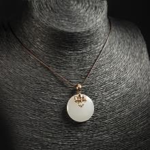 (18k玫瑰金嵌宝石)羊脂白玉-吉祥吊坠