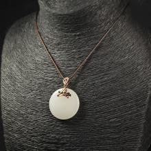 (18k玫瑰金嵌宝镶钻)羊脂白玉-荷韵吊坠