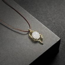 (18k金镶钻)白玉-吊坠