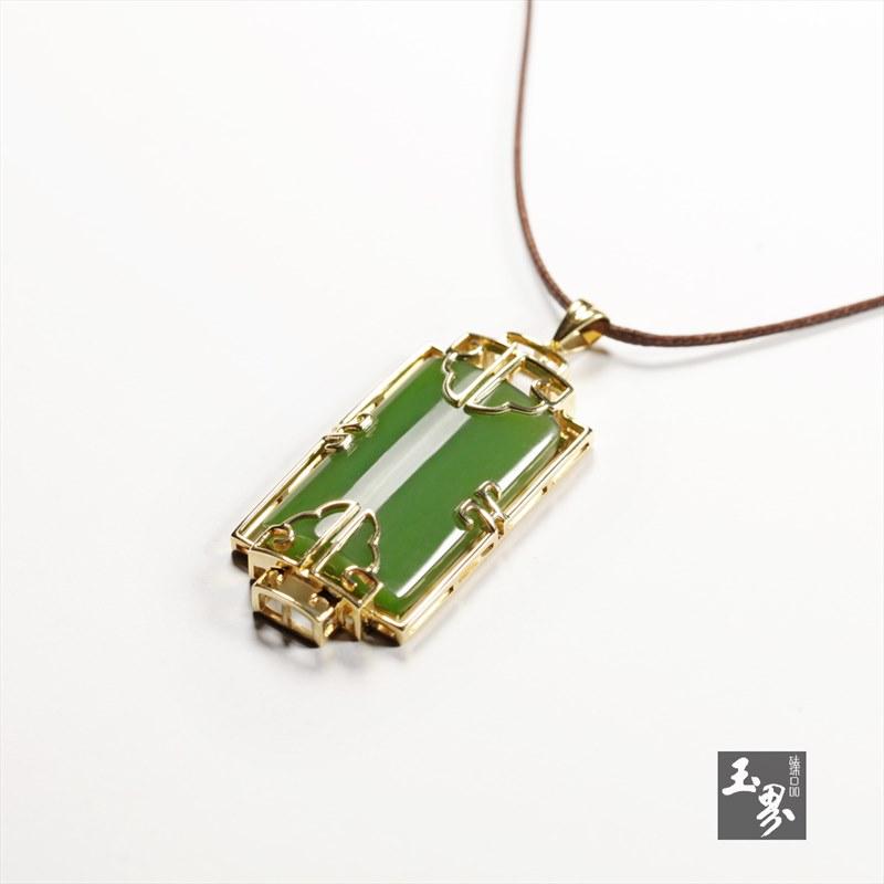 (18k金)碧玉-方形吊坠