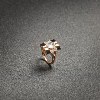 (18k玫瑰金镶钻)翡翠-秀竹戒指