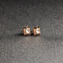 (18k玫瑰金镶钻)翡翠-秀竹耳钉