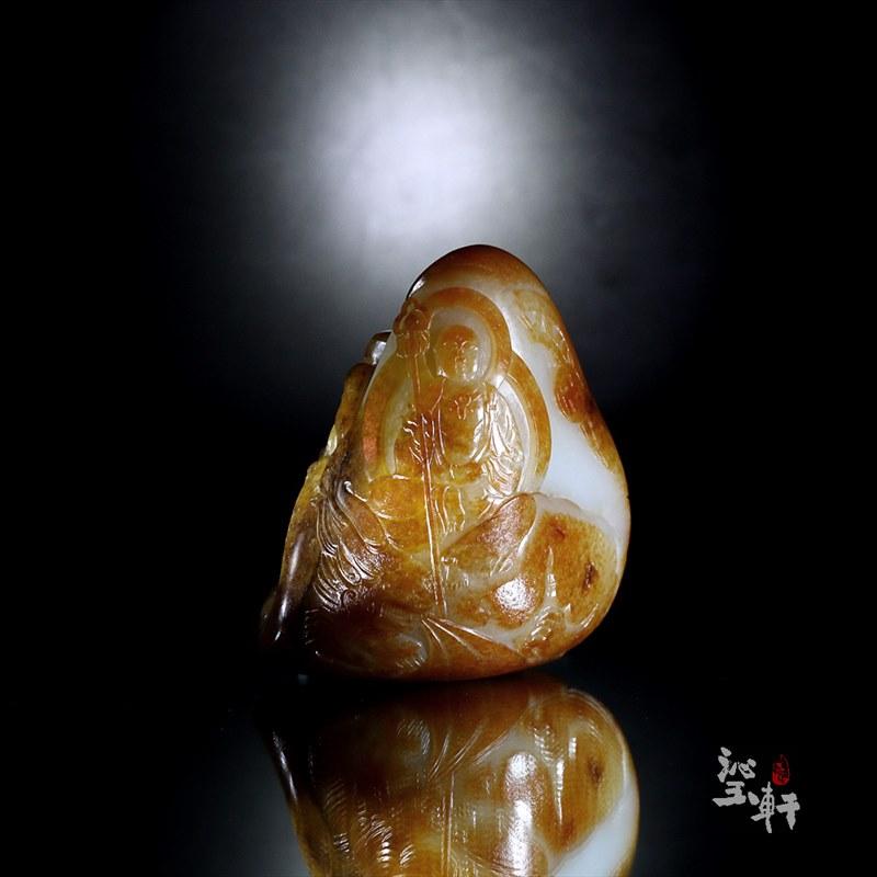 新疆和田撒金皮子料摆件-地藏王菩萨
