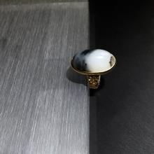 墨玉青花子料(金镶玉)戒指