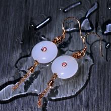 (18K金)羊脂白玉耳环