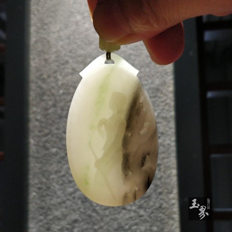 白玉(带翠)青花子料牌-春曲