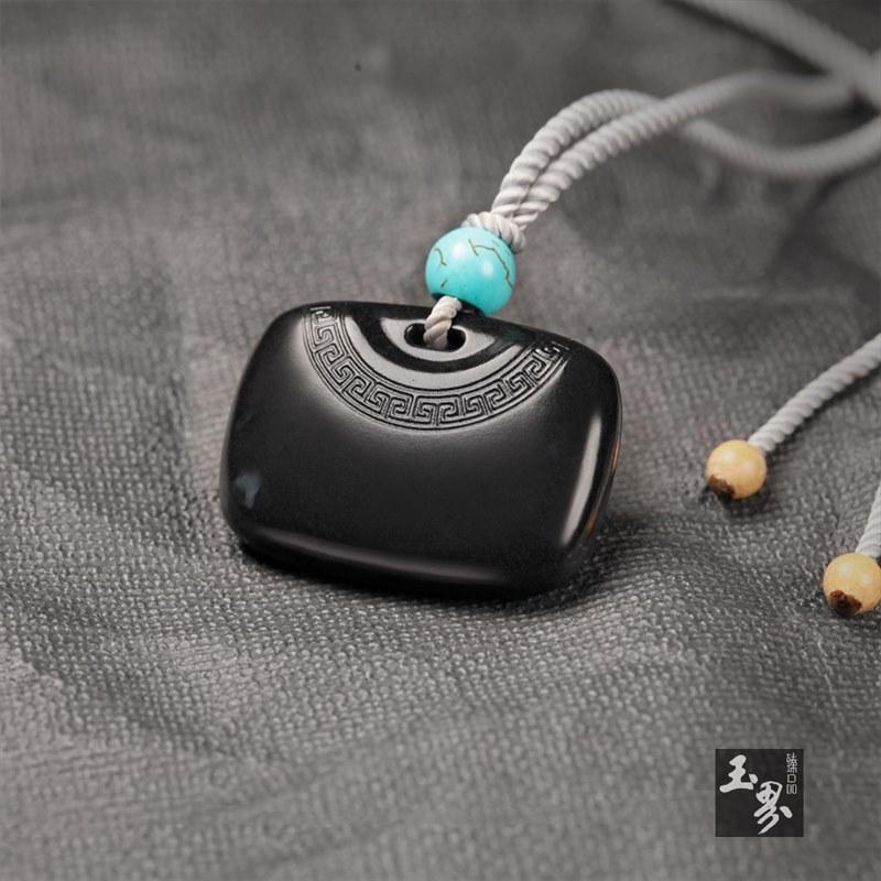 墨玉-回形纹饰吊坠
