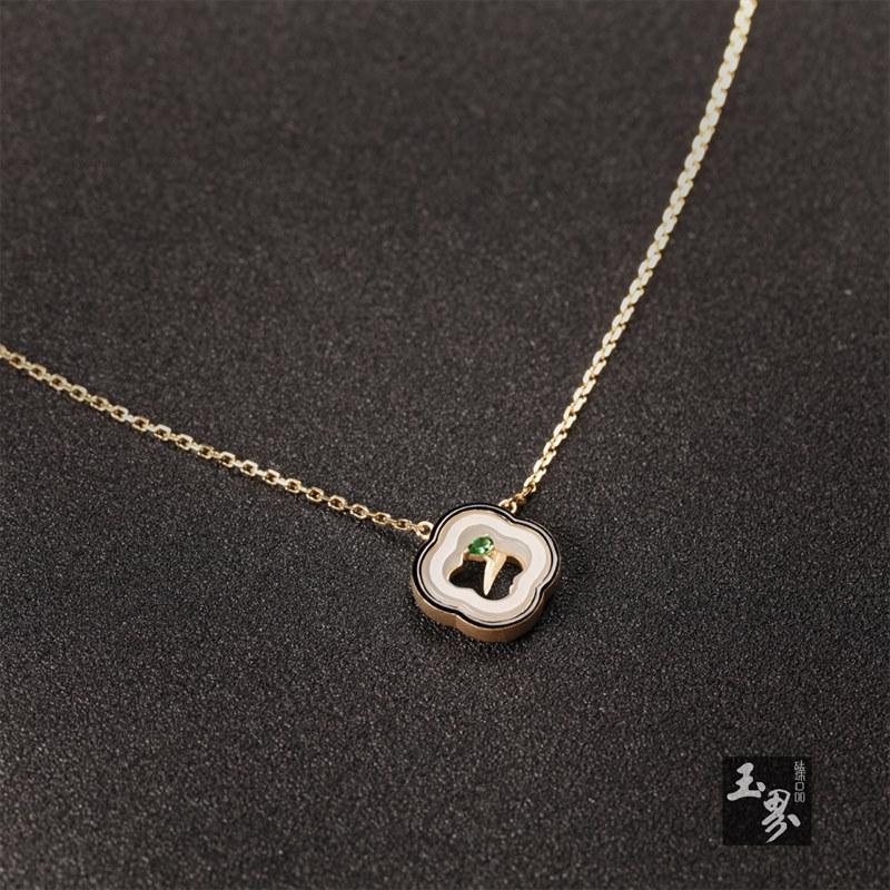 18k金镶白玉项链