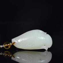 和田玉羊脂玉挂件鱼