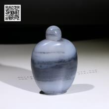 新疆和田玉青花籽料山水意境-鼻烟壶(特惠)