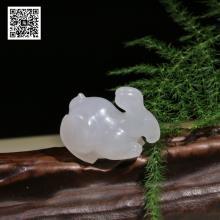 新疆和田玉羊脂白玉籽料挂件-生肖兔(特惠)