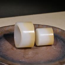 新疆和田且末糖羊脂白玉精品扳指(套)(不议价)