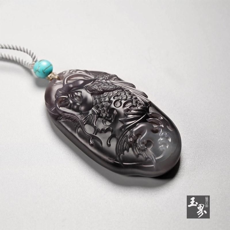 烟青玉牌-龙鱼
