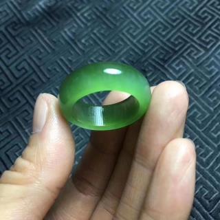 和田玉碧玉猫眼戒指