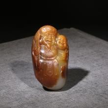 新疆和田玉黄沁白玉籽料挂件-财神