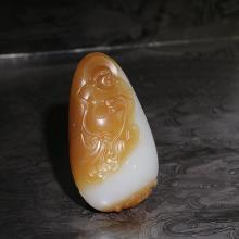 新疆且末糖白玉挂件-佛(不议价)