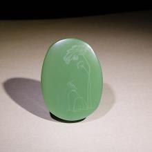 碧玉(粉绿)挂件-翠鸟风荷图