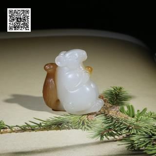 新疆且末料糖白玉挂件-松鼠(特惠))