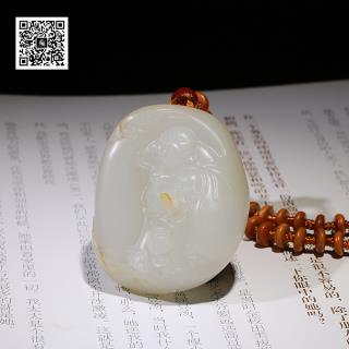 新疆和田玉羊脂白玉籽料挂件-弥勒佛