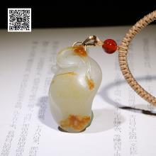 新疆和田红皮籽料白玉挂件-一路连科(特惠)